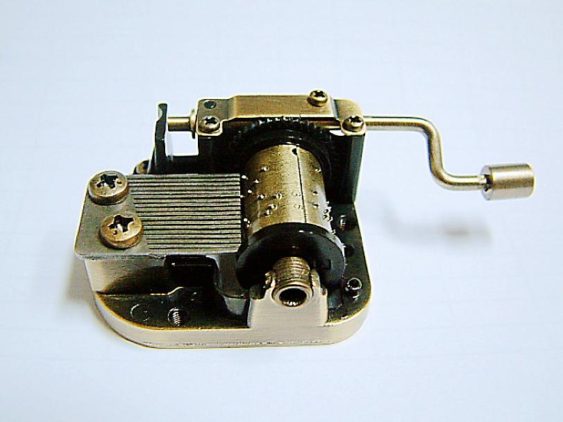 Antique Brass Hand Crank Musical Mechanism