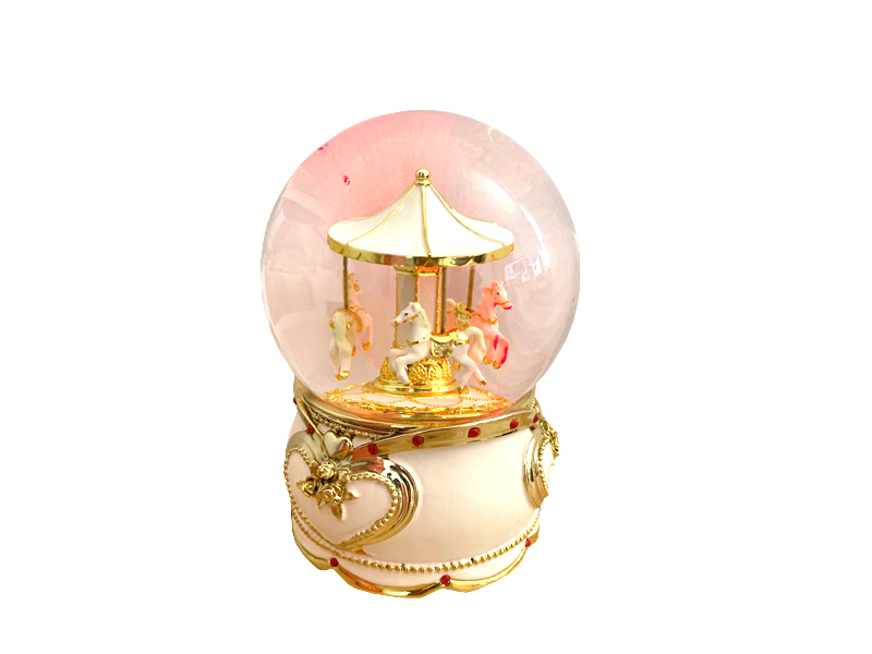 Custom LED snow ball carousel music box gift