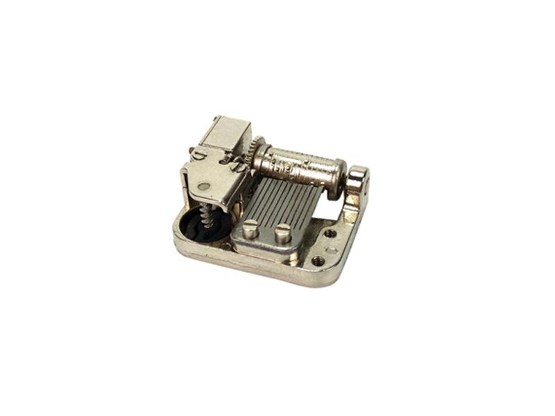 Miniture 12 note super spring music box mechanism clockwork with side wind up shaft