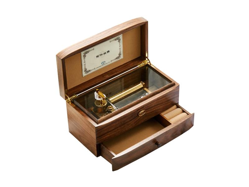 Walnut double layer jewelry box wind up 50 note musical movement box