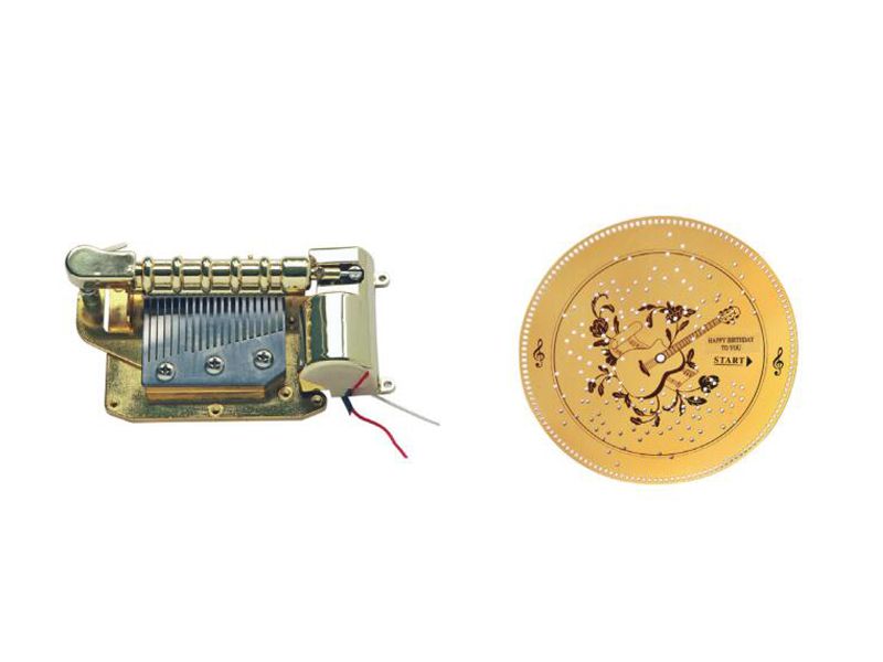 Disc battery operated music movement