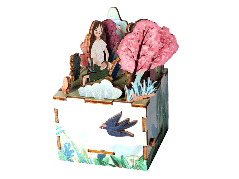 High quality 3D wooden puzzle music box hand craft music box