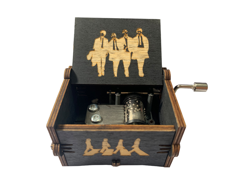 Antique Hand Crank Music Box Wood carved hand crank music box